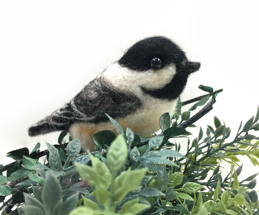 Needle Felted Chickadee with Leaves