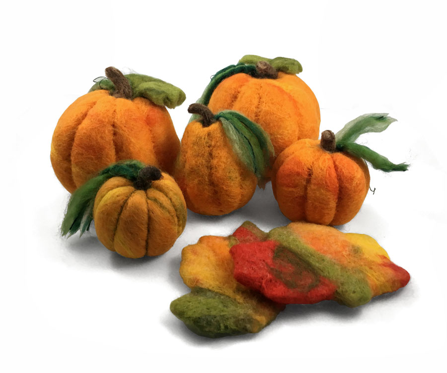 Needle Felted Pumpkins and Fall Leaves