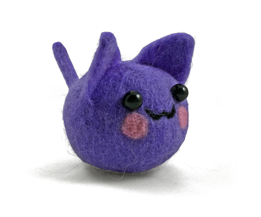 Needle Felted Purple Kitty