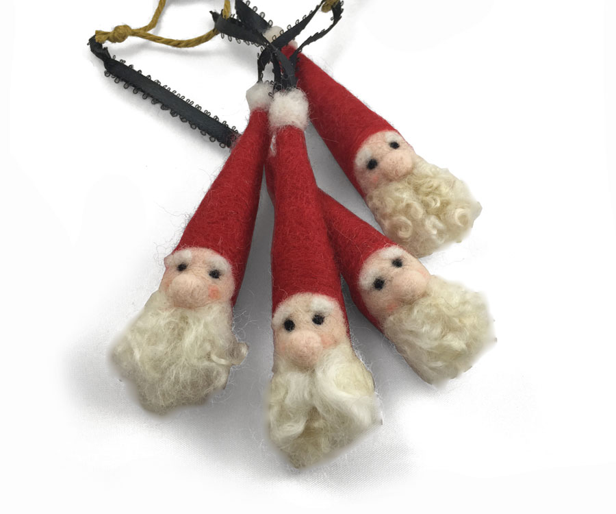 Felted Santas with Curly Beard