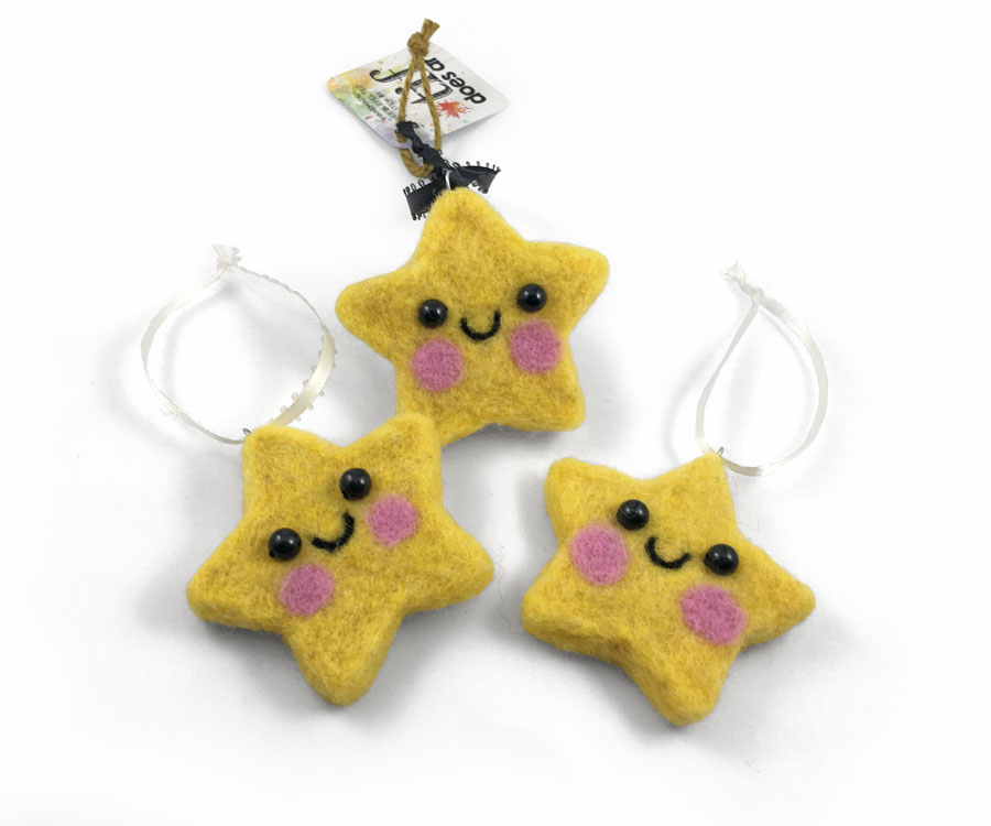 Needle Felted Star Ornaments