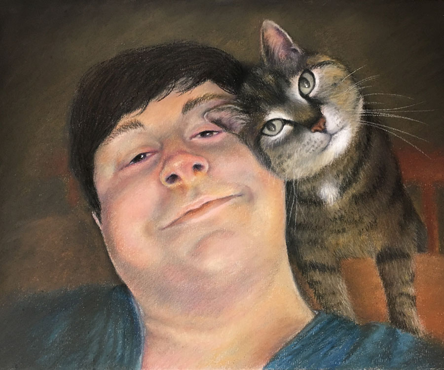 Nick and his Cat Pastel Commission